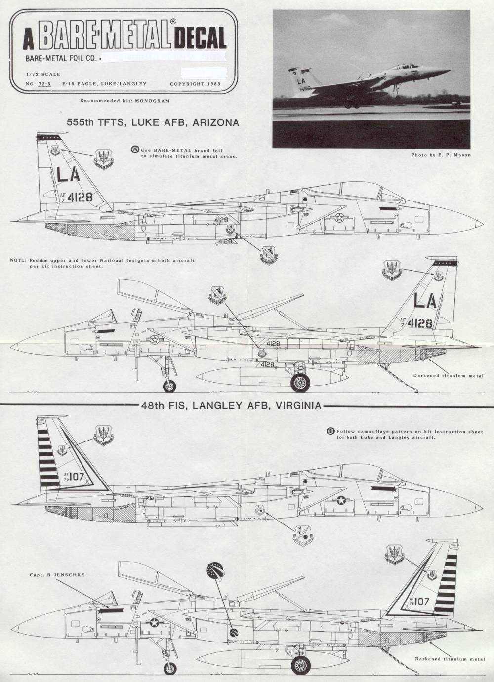 72-5 DECAL F-15 48TH FIS, 555 TFTS